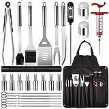 CSYHJRS BBQ Grill Tools Set Grill-Kit, 26-Teilig Premium-Edelstahl-Werkzeuge, Schürzen-Set Ideale Grillgeschenke zum Vatertag für Männer