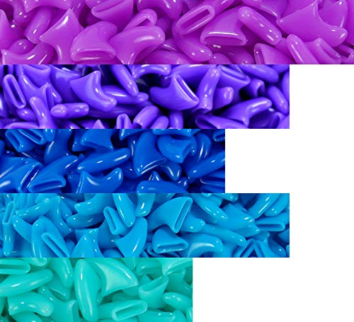 zetpo 100 pcs Soft Cat Claw Caps for Cats Nail Claws 5X Colors + 5X Adhesive Glue + 5X Applicator, Pet Tips Cover Paws Soft Covers (XS, Purple, Violet, Blue, Sky Blue, Turquoise)