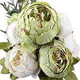 Ruiuzi Vintage Ramo de Flores de peonia Rosa, Artificial, para Boda decoración para el hogar (Green)