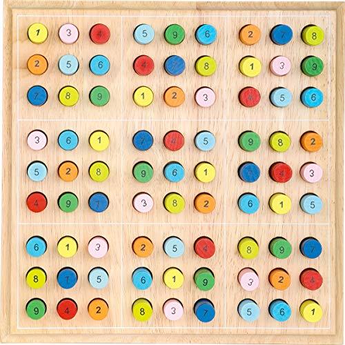 small foot 2489 Sudoku bunt für Kinder aus Holz, Gesellschaftsspiel ab 6 Jahre, One Colour