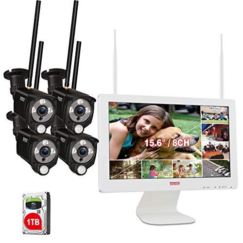 【PIR AI Wärmesensor & LED-Flutlicht】 Tonton 3MP WLAN Überwachungskamera Set Außen 15.6 Zoll LCD Monitor 8CH NVR mit 4X Kabellose Wetterfest 30M Hausüberwachungskamera 30M Nachtsicht 1TB Festplatte
