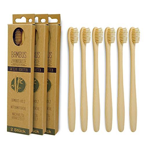 BambusEngel 6er Set Bambus Zahnbürste mit angenehm weichen Borsten für strahlend weiße Zähne aus natürlichem Bambus biologisch abbaubar bpa frei umweltfreundlich, vegan, ergonomischer Handgriff