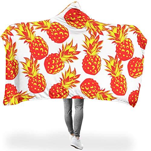 O2ECH-8 Draagbare deken, twee maten, met capuchon, deken, pineapple fruit, zomer, bedrukt motief, comfortabele robe hoody - voor lunchpauze te gebruiken