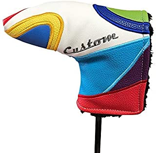 Majek Golf Retro Putter Blade Style Headcover. Limited Edition Vintage Leather Style, Fashionable Colorful Groovy Custom 70'S Design