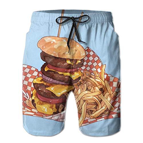 Preisvergleich Produktbild Hwgss Men's Swim Trunks Double Cheeseburger and French Fries Quick Dry Board Shorts Bathing Suits Swimwear Volley Beach Trunkssize:XL