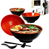 Vallenwood 4 Noodle Bowl (16 piece) Melamine Large Ramen Bowls Set. Asian Chinese Japanese or Pho Soup 32oz. With Spoons, Chopsticks and Stands Complete Dinnerware. Thai Miso Udon Noodles Ram Dom.