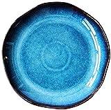 DYB Servizio da tavola fine, Piatti Piani Piatto per Pasta in Ceramica, Piatto Fondo Grande o Piatto Piano, Piatto Irregolare pigmentato Blu in Porcellana di Prima qualità, Piccolo (Size : Large)