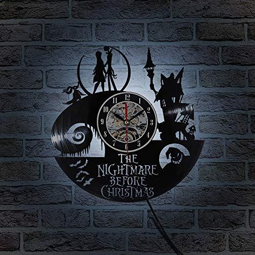 e14 7w luz nocturna vinilo LED reloj de pared tema pesadilla grabación de CD reloj antes de Navidad 3D Jack y Sally película reloj de pared reloj antiguo lámpara de mesa led