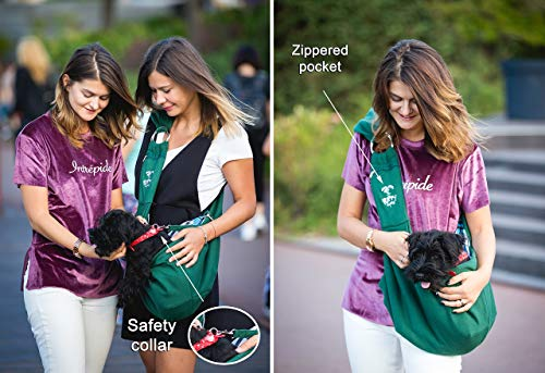 Puppy Eyes Pet Carrier Sling Ideal for Small & Medium Dogs, Cats or Rabbits up to 15 lb. Comfortable & Easy-Care | Free Seat Belt & Ebook | Adjustable & Reversible Design with Zippered Pocket 6