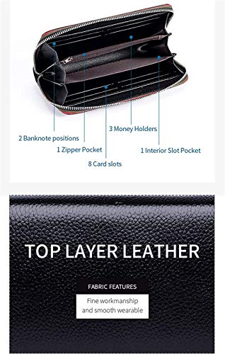 YIJIN Vegan Leder Zip Wallet für Frauen Slim Fashion Long Wallet Telefon Geldbörse Handtasche für Damen,Black