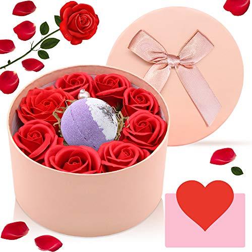 AYUQI Regalos para Mujer,Jabón Flor De Rosa y Vela Aromática, Madre, Maestra,Hermana en el día de la Madre, día de San Valentín, Aniversario, Cumpleaños