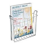 iDesign Portariviste da parete, Piccolo porta giornali e riviste ideale per il bagno, Porta tablet a muro in metallo, argento