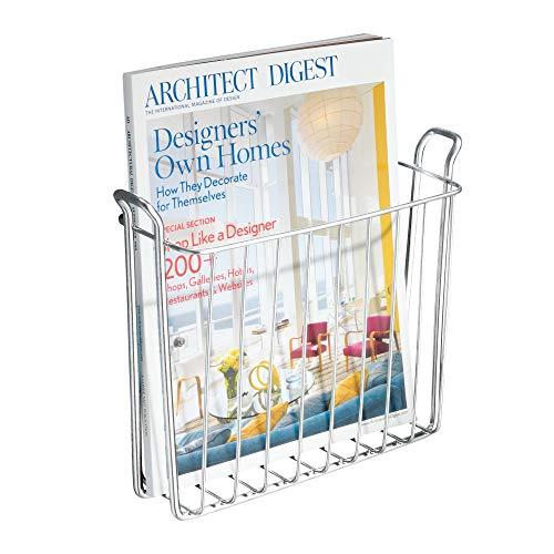 InterDesign Classico Zeitschriftensammler, wandmontierter Zeitungsständer aus Metall, silberfarben