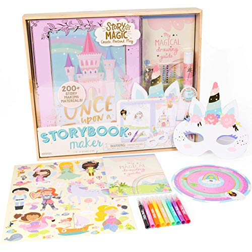 Story Magic Storybook Maker by Horizon Group USA, Create Your Own Stories, Hardcover Storybook, Includes Stickers, Markers, Punch Outs, Unicorn Mask, 200+ Storytelling Materials, Perfect for Ages 4+