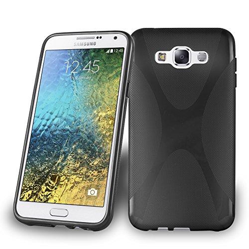 Cadorabo Hülle kompatibel mit Samsung Galaxy E7 Hülle in Oxid SCHWARZ Handyhülle aus flexiblem TPU Silikon im X-Line Silikon Schutzhülle