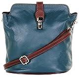 Primo Sacchi Ladies Italian Leather Hand Made Small Teal & Brown Cross Body or Shoulder Bag Handbag