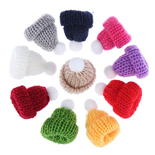 Peerless 60Pcs Mini Christmas Knit Hats Mutli-color Santa Hat Mini Hat PomPoms Ornament for Doll House Accessories Jewelry Making DIY Christmas Craft Art Gift Supplies Christmas Tree Decorations