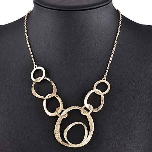 weichuang Classical Fashion Exaggerat Annulus Chocker Necklaces Collar Pendant Necklace women Statement Sweater Necklace (Length : 55cm, Metal Color : Light Yellow Gold Color)