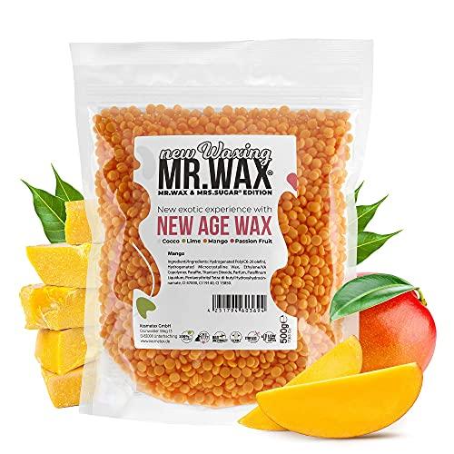 Mr. Wax New Age Waxing Mango Wachsperlen für Haarentfernung, Wachs Warmwachs Perlen, schmerzfreie Enthaarung im Gesicht für Augenbrauen, Oberlippe, Intimbereich, Achseln