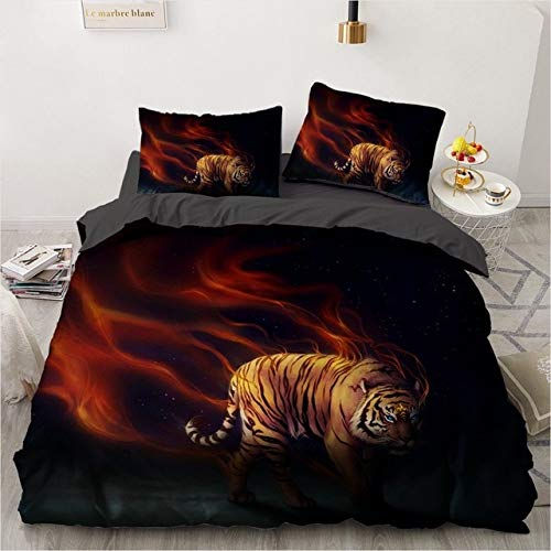 Mdsfe 3D Bedding Sets Black Duvet Quilt Cover Set Comforter Bed Linen Pillowcase King Queen 140x210cm Size Animal Tiger Design Printed - tiger001-Black, Single