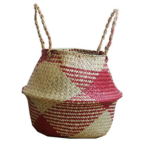 Szetosy - Cesta de junco marino natural tejida a mano, con asa, para almacenar juguetes, ropa sucia o como maceta, Estilo#3, 38CMx36CM