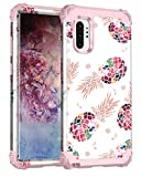 Lontect for Galaxy Note 10 Plus Case Floral 3 in 1 Heavy Duty Hybrid Sturdy Armor High Impact Shockproof Protective Cover Case for Samsung Galaxy Note 10 Plus/Note 10 Plus 5G, Pineapple/Rose Gold