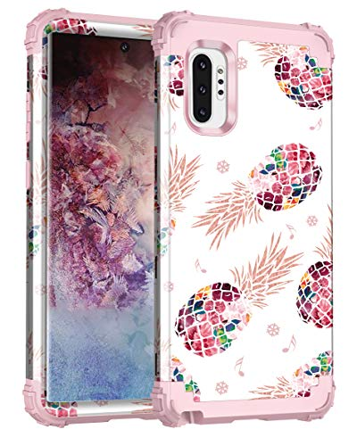 Lontect for Galaxy Note 10 Plus Case Floral 3 in 1 Heavy Duty Hybrid Sturdy High Impact Shockproof Protective Cover Case for Samsung Galaxy Note 10 Plus/Note 10 Plus 5G, Pineapple/Rose Gold