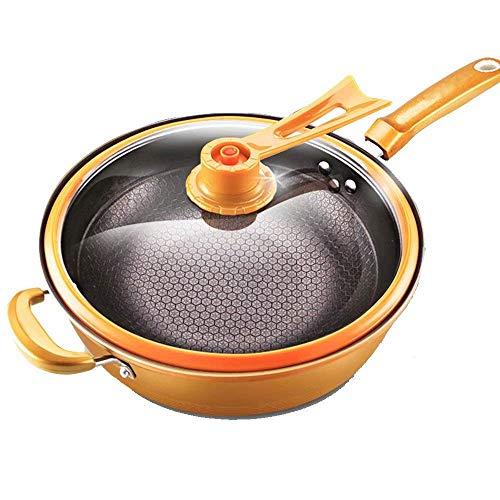 DJYD Pot Eisenpfanne Vakuum Wok Antihaft- Pfanne Haushalt pan Induktionsherd universal 32cm FDWFN