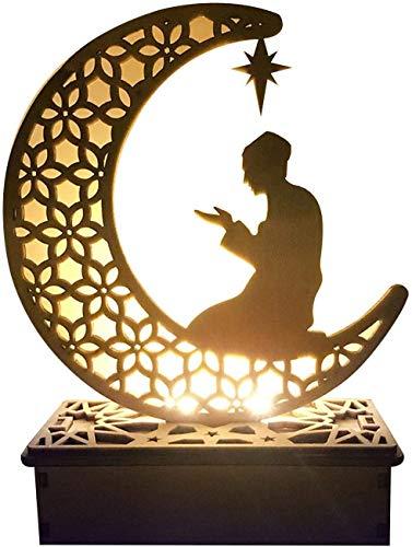 Eid Mubarak Ramadan LED Holz Lampe, Muslim Ramadan Festival Dekoration Halbmond Star Lanterns, Halbmond Nachtlicht Für Muslimischen Islam Eid, Wesentliche Dekorationen für Ramadan-Gebete (#5)