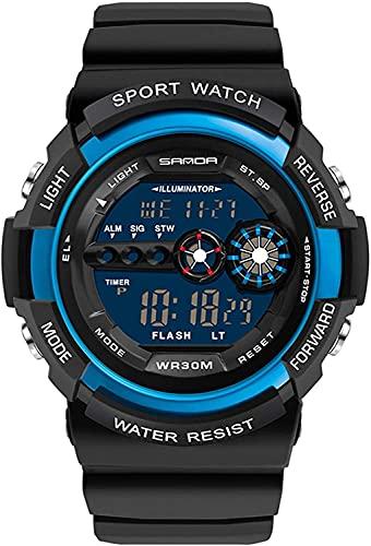QHG Reloj Deportivo Digital Hombres Cronógrafo Relojes de Pulsera de Hombre Impermeable Negro Reloj de Reloj Masculino Militar Reloj de Pulsera de Cuarzo (Color : Blackblue)
