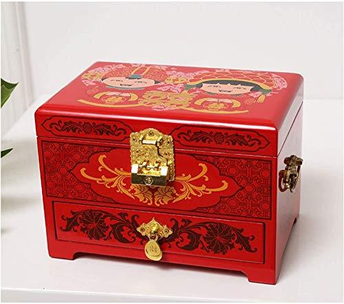 JISHIYU - Q Joyero antiguo joyero de madera oriental con espejo de laca roja pintado a mano regalo para familiares amigos cajas de joyería decorativas (color: C)