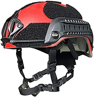 Phalanx Search & Rescue Red Elite Series Tactical Bump Helmet w/Rails, NVG/Camera Mount and Loop for Patches, Strobes etc.