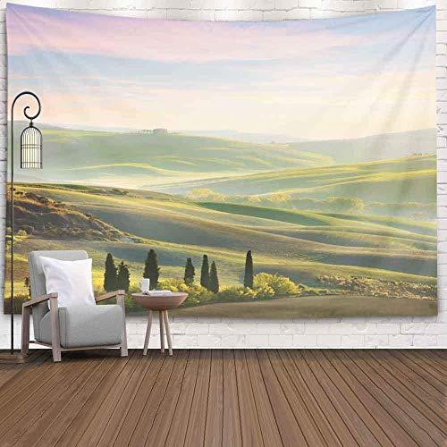 Tapisserie de dortoir, Tapisserie Murale Art Tapisserie Tenture Murale Tapisserie Extérieure Unique Paysage Toscane Spring Time Wave Hills Arbres Belle Tapisserie Cool pour Chambre Tapisserie Moderne