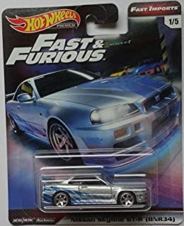 Hot Wheels Nissan Skyline GT-R (BNR34) #1/5 Premium 2019 Real Riders Fast & Furious Series 1:64 Scale Collectible Die Cast Model Car