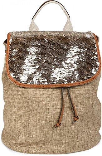 styleBREAKER Rucksack mit Pailletten besetztem Überschlag, Leinen Optik, Tasche, Damen 02012155, Farbe:Braun