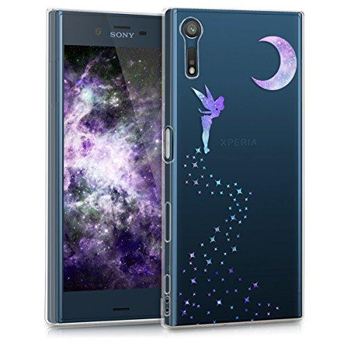 kwmobile Hülle kompatibel mit Sony Xperia XZ/XZs - Handyhülle - Handy Hülle Fee Violett Mintgrün Transparent