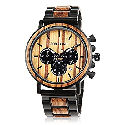 Amazon - Save 15%: Mens Watch Wooden Stylish Wood & Stainless Steel 44MM Large Size Ni…