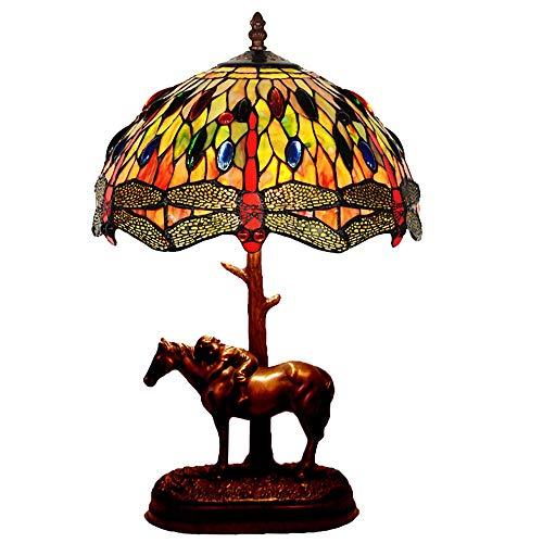 Lampada da tavolo creativa Tiffany 12'Lampada da tavolo europeo Pastorale creativo Camera Lampada da comodino Dragonfly Pony da tavolo lampada da letto lampada da tavolo, largo Ombra mano Stained Gla