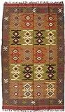 Guru-Shop Alfombra Oriental de Tejido Grueso de Kilim 250x150 cm - Patrón 3, Marrón, Lino, Alfombras y Alfombrillas