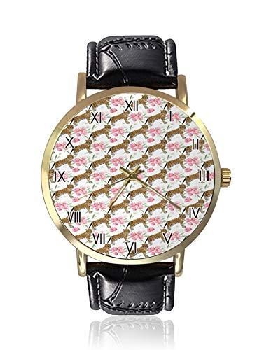 Reloj de cuarzo para mujer, diseño de flores y jaguares, con ilustración botánica y correa de piel