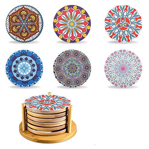 Yoassi Vintage Mandala Untersetzer 6er Set, Boho Motive Bohemian Untersetzer aus Bambusholz im Ständer, Dekorative Untersetzer für Glas, Tassen, Vasen, Kerzen auf Esstisch - Ø 10.2 x 0.7