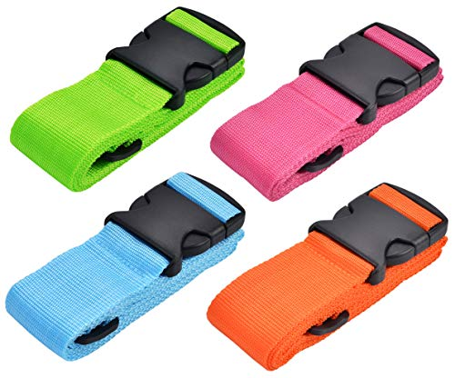 WeBravery Luggage Straps Suitcase Belt Travel Accessories (4Pack-Multicolor)