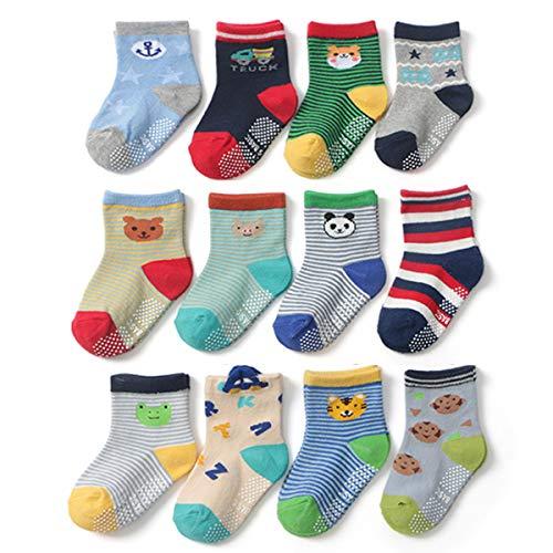 Yafane 12 Pares de Calcetines Antideslizantes para Niños Pequeños Algodón Lindo con Puños Calcetines Antideslizantes para Bebés (Color A, 1-3 años)