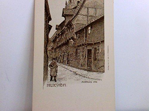 Schöne Künstler AK Hildesheim. Andreas Straße. Signiert E. Schuh. Enge Gasse, Straßenpartie, Gebäudeansichten, Mann mit Hut, Niedersachsen