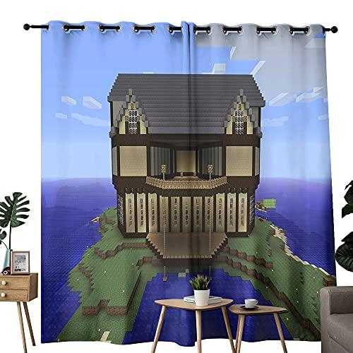 Paneles de cortina opaca para sala de estar, dormitorio, villa de mar de Minecraft utilizados en la sala de estar para mejorar el dormitorio de la junta de 132 x 160 cm