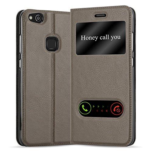 Cadorabo Funda Libro para Huawei P10 Lite en MARRÓN Piedra - Cubierta Proteccíon con Cierre Magnético, Función de Suporte y 2 Ventanas- Etui Case Cover Carcasa