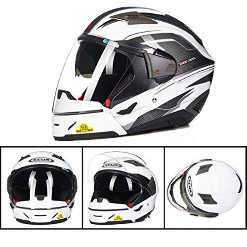 YD Motocross Casco per Moto Dual Lens Occhiali da Sole integrati Casco Combinato Harley Mezzo Casco/Casco Integrale Commutabile Protezione Solare Four Seasons Uomini e Donne Protezione della Testa,M