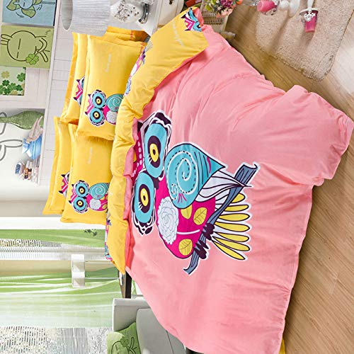 Sandyshow 2PC Owl Bedding For Children Twin Microfiber Duvet Cover Set (No Comforter Inside) Full/Queen Size Optional