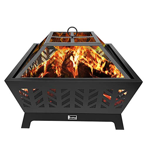YISHEN Outdoor Fire Pit, 26 Metal Four-Corner Fire Pit Patio Stove Wood Burning BBQ Grill Fire Pit Bowl with Spark Screen Cover and Poker, Log Grate, Poker for Backyard Garden Camping Picnic Bonfire