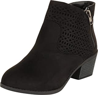 Cambridge Select Women's Western Laser Cutout Chunky Block Low Heel Ankle Bootie